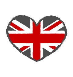 British flag typography graphics heart vector