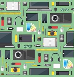 cartoon designer workplace background pattern vector image vector image