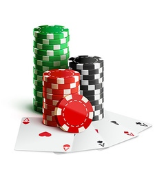 casino chips and cards isolated on white realistic vector image
