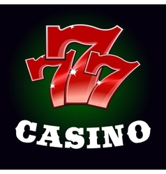 Casino jackpot icon with red lucky number vector