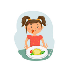 child does not want to eat vector image vector image