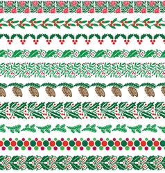 Christmas border patterns vector