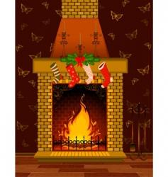 Christmas fireplace scene vector