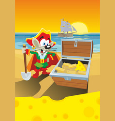 Comics mouse pirate found a treasure with cheese vector