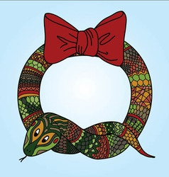 Cute snake wreath for chinese new year vector