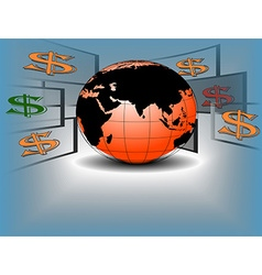 Dollar flying around a world vector