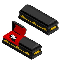 Dracula in coffin vampire count in an open hearse vector