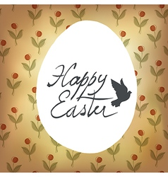 easter retro cute card with spring flowers vector image