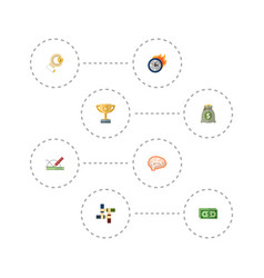 flat icons coin design championship and other vector image