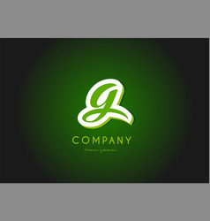 g alphabet letter logo green 3d company icon vector image vector image