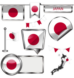 glossy icons with flag of japan vector image vector image