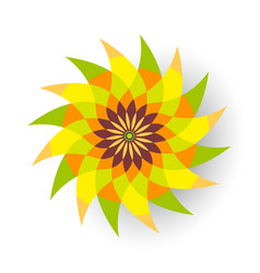 Green and orange flower vector