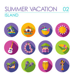 Island beach flat icon set summer vacation vector