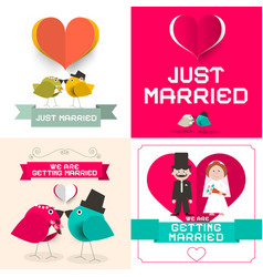 just married wedding cards set paper retro flat vector image