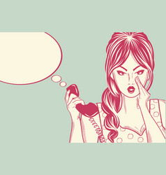 Line art comic woman talking on the retro phone vector
