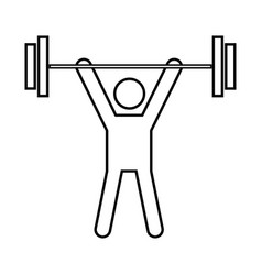 man uping weight black icon vector image