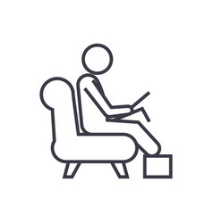 man working on laptop at home linear icon sign vector image