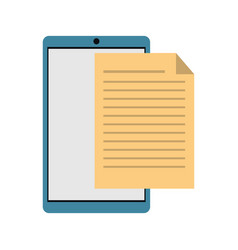 Mobile phone document file paper digital vector
