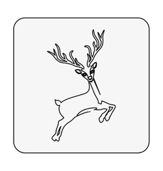 Monochrome contour square with reindeer jumping vector