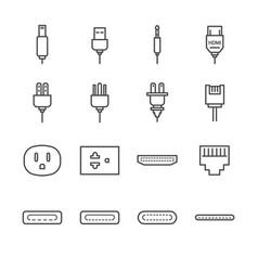 plug and socket line icon set vector image