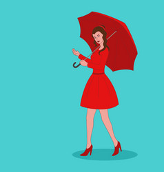 pretty girl in red dress with umbrella vector image