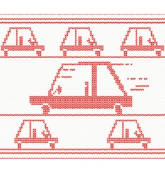 Red knitted car vector