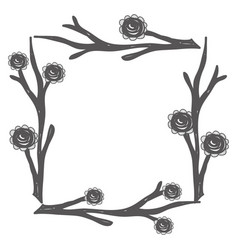 rustic square branches with flowers vector image vector image