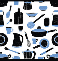 seamless pattern with black and blue kitchen vector image