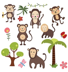 Set funny monkeys vector image vector image