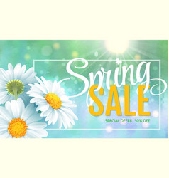 Spring sale concept summer background with vector