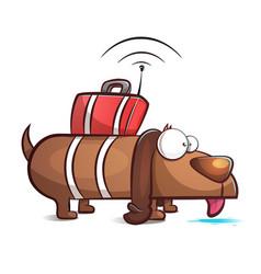 spy dog - cartoon vector image