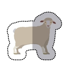 Sticker of cartoon funny of sheep posing shading vector
