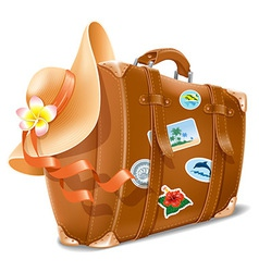 Suitcase and hat vector image vector image