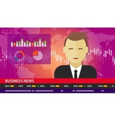 tv anchor news business report diagram chart vector image vector image