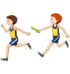 Two running doing relay race vector image