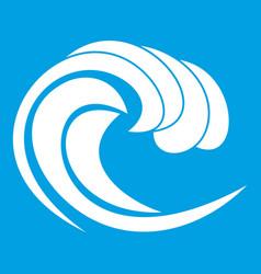 Wave of sea tide icon white vector