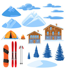 Winter set for design alpine chalet houses vector