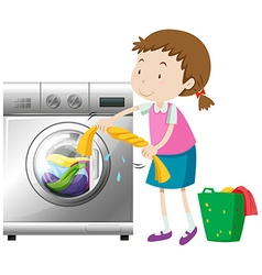 Girl doing laundry with washing machine vector