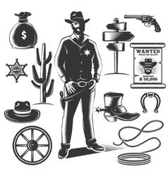 Sheriff icon set vector