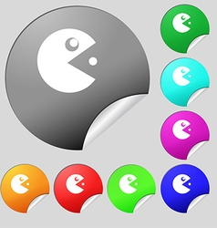 Pac man icon sign set of eight multi colored round vector