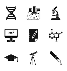Science education icons set simple style vector
