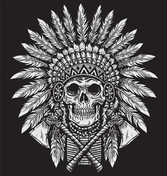 Bold native american skull chief vector