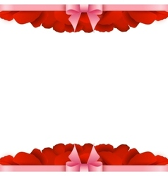 Rose petals border on white background valentines vector