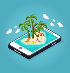 Isometric beach vacation mobile concept vector