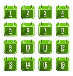July flat calendar icons days of year set 19 vector