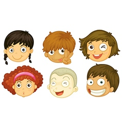 Six heads of different kids vector