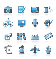 Hobbies and leisure icons vector