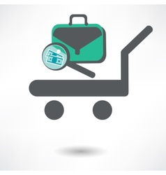 Luggage trolley icon vector