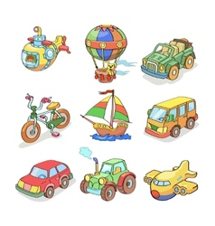 Cartoon collection of transportation- colored vector