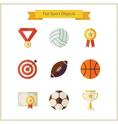 Flat sport and competition winning objects set vector